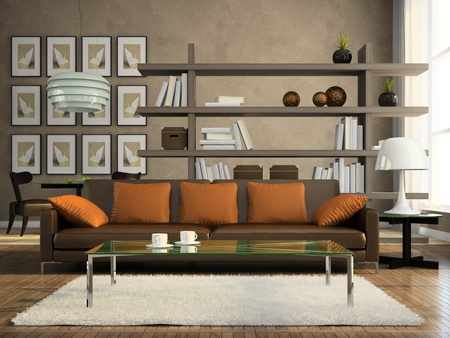 modern lifestyle: Part of the modern apartment 3D rendering Stock Photo
