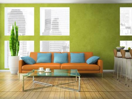 緑の色 3 D レンダリングでモダンなリビング ルームの一部