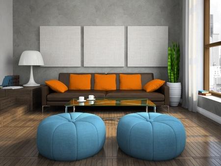 Deel van de moderne woonkamer met blauwe Ottomanen 3D-rendering