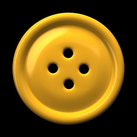 Gele knop voor kinderkleding geïsoleerd op zwarte achtergrond 3D-rendering