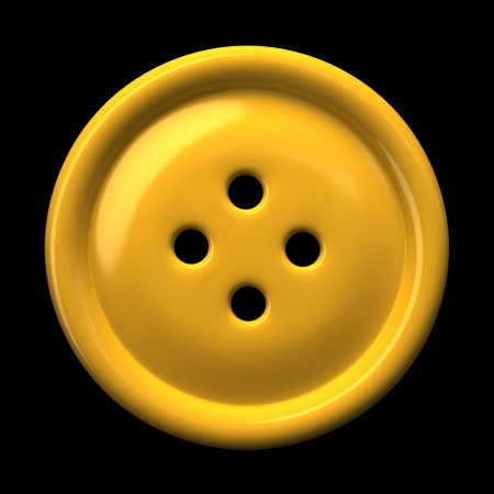 Yellow button for clothing isolated on black background 3D rendering Stock Photo