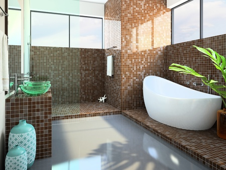 Modern interior of the bathroom 3D rendering photo