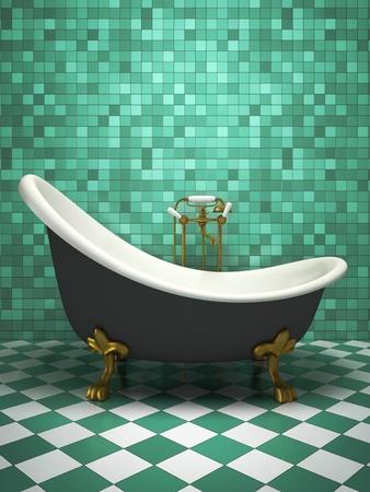 aquamarine: Modern interior of the turquoise bathroom 3D rendering