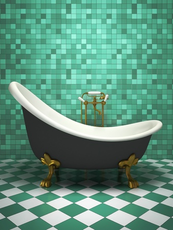 Modern interior of the turquoise bathroom 3D rendering