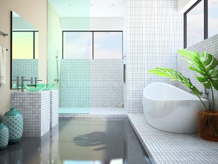白い浴室の 3 D レンダリングのモダンなインテリア
