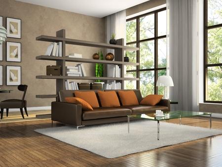 Deel van de moderne appartement 3D rendering. Illustraties op de muur zijn ontworpen door mij. Stockfoto