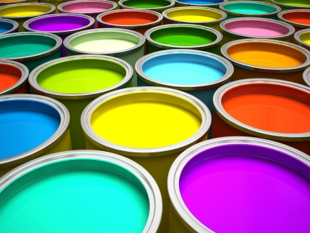 Banks of multicolored paint 3D rendering Stock Photo