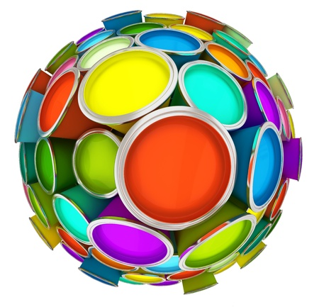 Banks of multicolored paint in sphere 3D rendering Stock Photo - 9830542