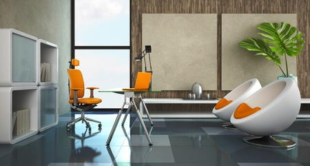 office chair: Modern interior of the private office 3D rendering Stock Photo