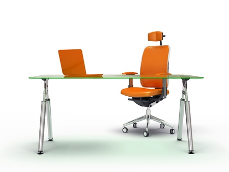 Office table and chair isolated on white background 3D rendering Standard-Bild