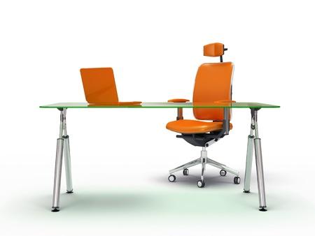 Office tafel en stoel geïsoleerd op een witte achtergrond 3D-rendering