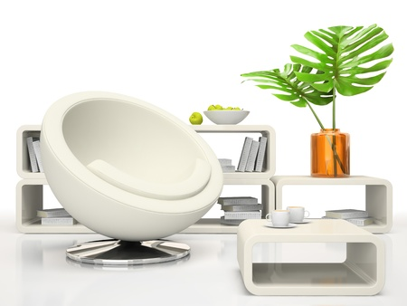 Part of the modern living-room on white background 3D rendering Stock Photo - 9830537