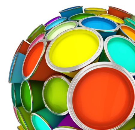 Banks of multicolored paint in sphere 3D rendering Stock Photo - 10570603