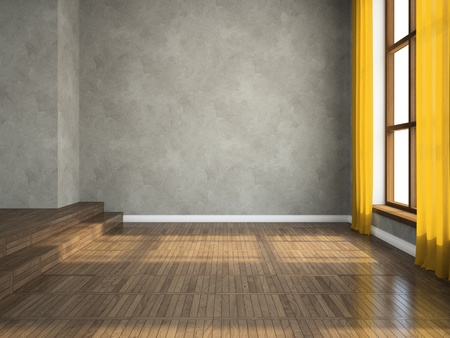 unfurnished: Empty room 3D rendering