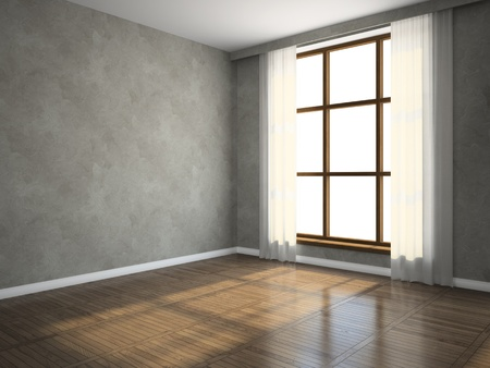blinds: Part of the empty room 3D rendering Stock Photo