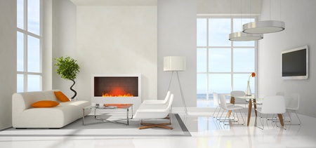 fireplace: Panoramic view on the modern interior 3D rendering