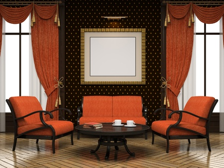 arredamento classico: Parte del rendering moderna 3D interni Archivio Fotografico
