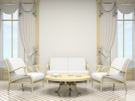 Part of the modern interior in white colour 3D Stock Photo