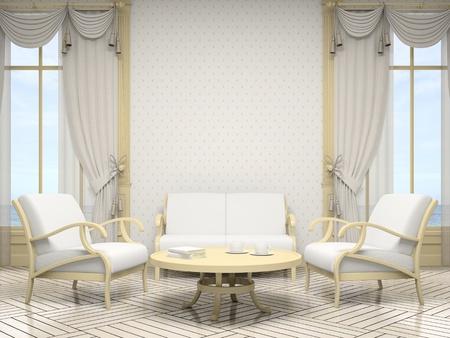 arredamento classico: Parte degli interni moderni in bianco 3D a colori