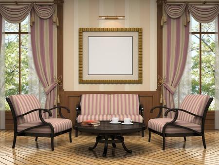 arredamento classico: Parte del rendering 3D interni moderni