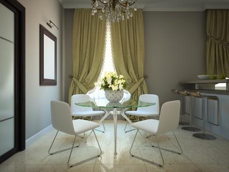 arredamento classico: Sala da pranzo nella moderna casa di campagna 3D Archivio Fotografico