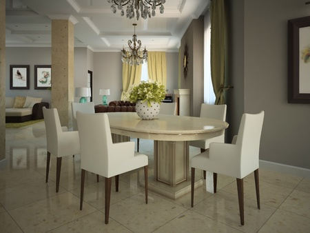 Dining-room in the modern country-house 3D photo