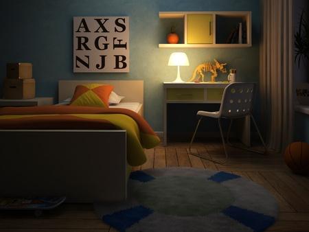 Innenansicht der childroom in der Nacht 3D-Rendering