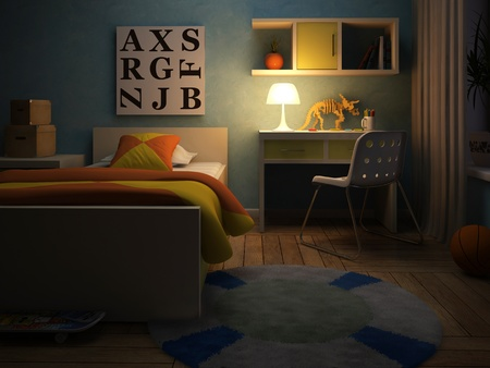 Interieur van de kinderkamer in de nacht 3D-rendering