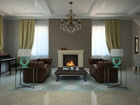 Living-room in the modern country-house 3D 스톡 콘텐츠