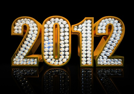 Modern 2012 year isolated on the black background 3D rendering photo