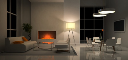 Panaramic view on the evening interior 3D rendering