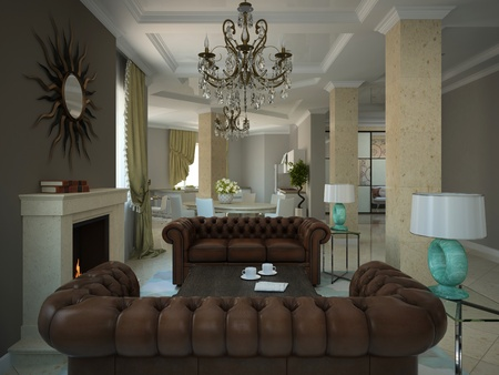Part of the living-room in the modern country-house 3D photo