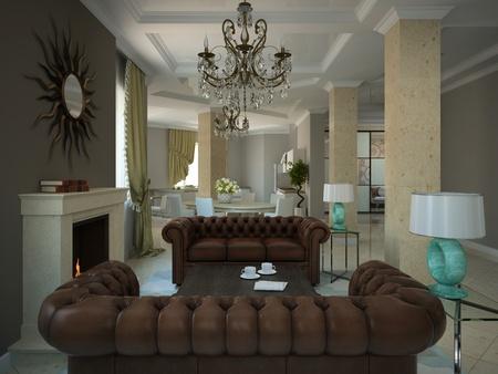 arredamento classico: Parte del soggiorno nella moderna casa di campagna 3D
