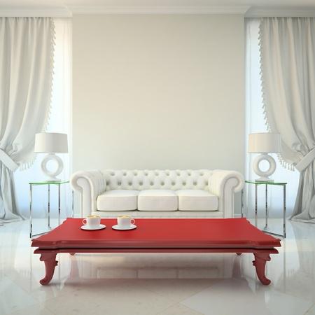 赤いテーブル 3 D レンダリングとモダンなインテリア