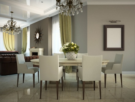 Part of the living-room in the country-house 3D photo