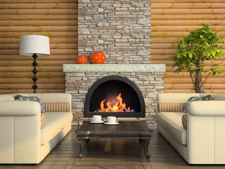 stone fireplace: Part of the modern interior with fireplace 3D rendering Stock Photo