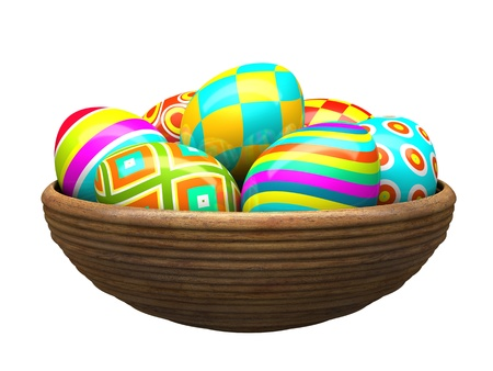 Colorful painted easter eggs in wood plate 3D photo