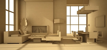 Fictitious interior of paperboard 3D rendering photo