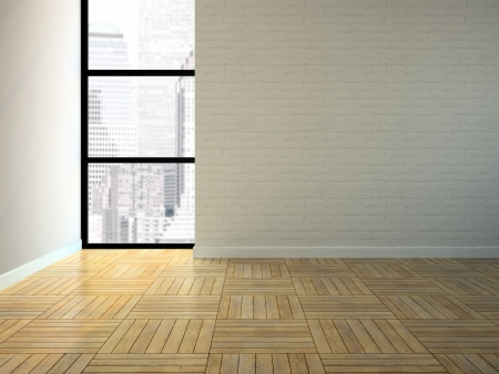 unfurnished: Empty room with brick wall 3D rendering Stock Photo