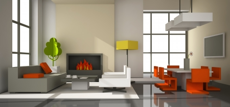 Fictitious interior of color paperboard 3D rendering photo