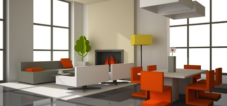 fictitious: Fictitious interior of color paperboard 3D rendering Stock Photo