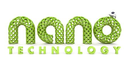 Inscriptie nanotechnologie geïsoleerd op witte achtergrond 3D