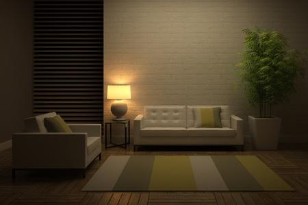 Bekijk op de avond interieur 3D rendering