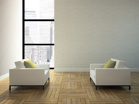 View on the interior in skyscraper 3D rendering