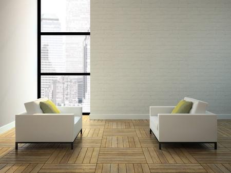 arredamento classico: Vista sul grattacielo di rendering interno in 3D Archivio Fotografico