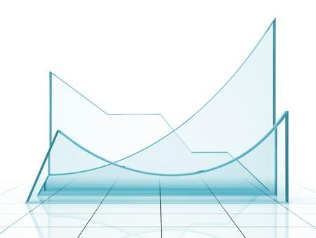 Blue graph 3D rendering photo