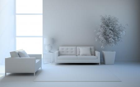 View on the interior in white 3D rendering Standard-Bild