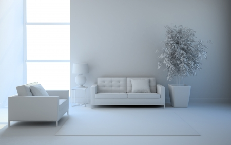 View on the interior in white 3D rendering Banque d'images