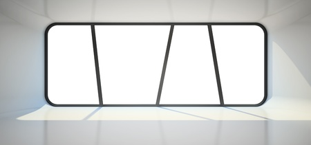 Abstract empty room with big window 3D rendering photo