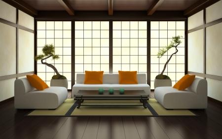 日本スタイルの 3 D レンダリング インテリア